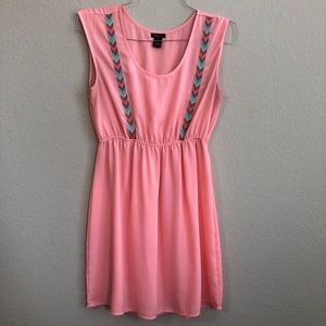 Rue 21 Coral Dress With Chevron Stitched Print